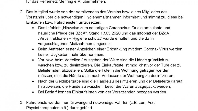Vereinbarung Fahr- Einkaufsdienst während Corona für Mitglieder das HelferNetz Mehring e.V. (incl. Formular-Download), Stand 28.03.2020